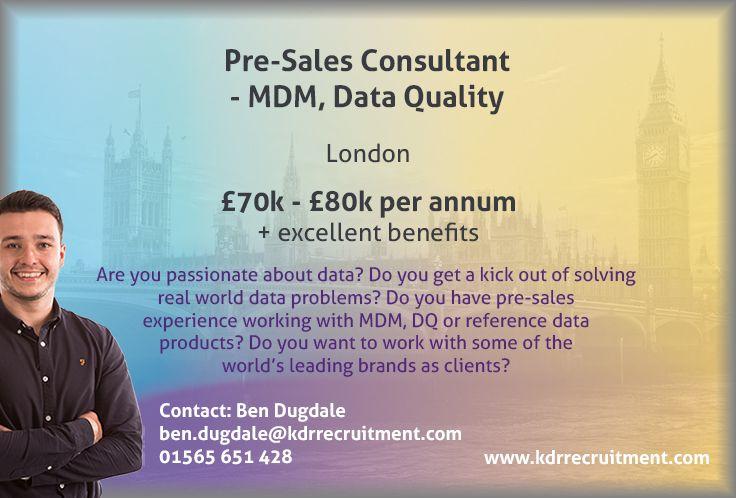 New Job PreSales Consultant MDM, Data Quality needed