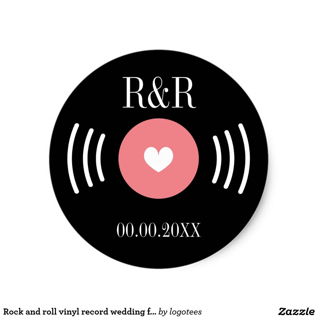 Rock and roll vinyl record wedding favor sticker | Favours, Music ...
