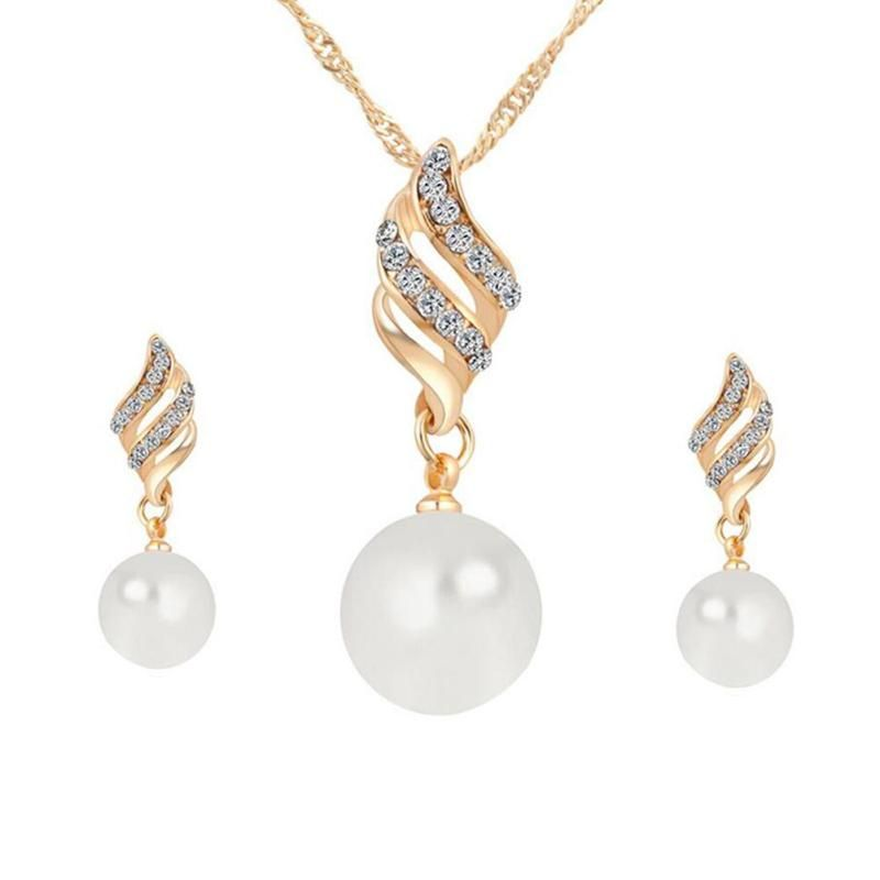 Luxury Bridal Jewelry Sets Simulated Pearl Rhinestones Chamrs Necklace Earrings Set Spiral Jewelery Set For Lady Girl Wedding
