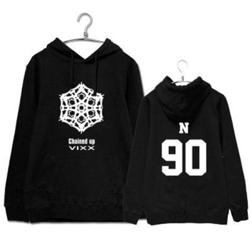 VIXX2 Kpop Hoodies Hooded Moleton Harajuku CHAINED UP KEN Sweatshirt Black White Cotton Fleece Coat Women Men Sportswear Casual