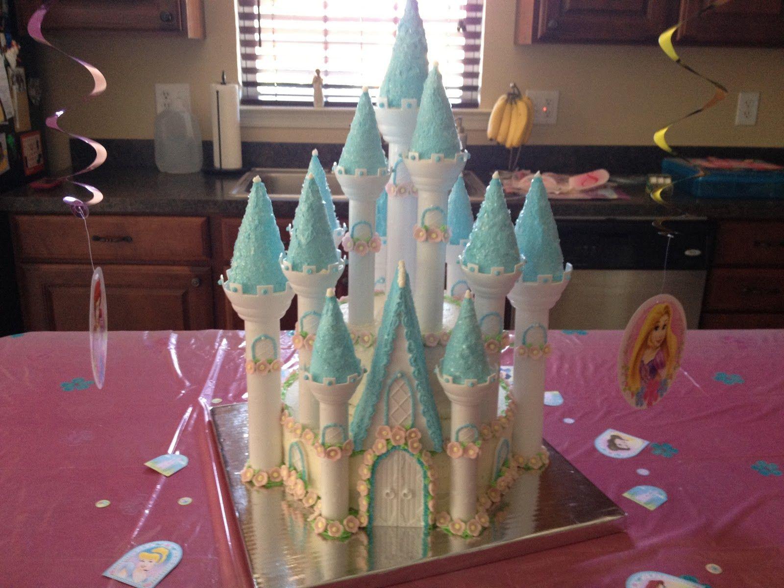 Disney princess castle cake using wilton castle cake kit and