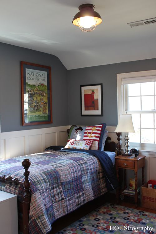 ordinary Vintage Boy Bedroom Part - 2: nautical vintage boys bedroom. blue-gray walls, plaid quilt, board and  batten walls