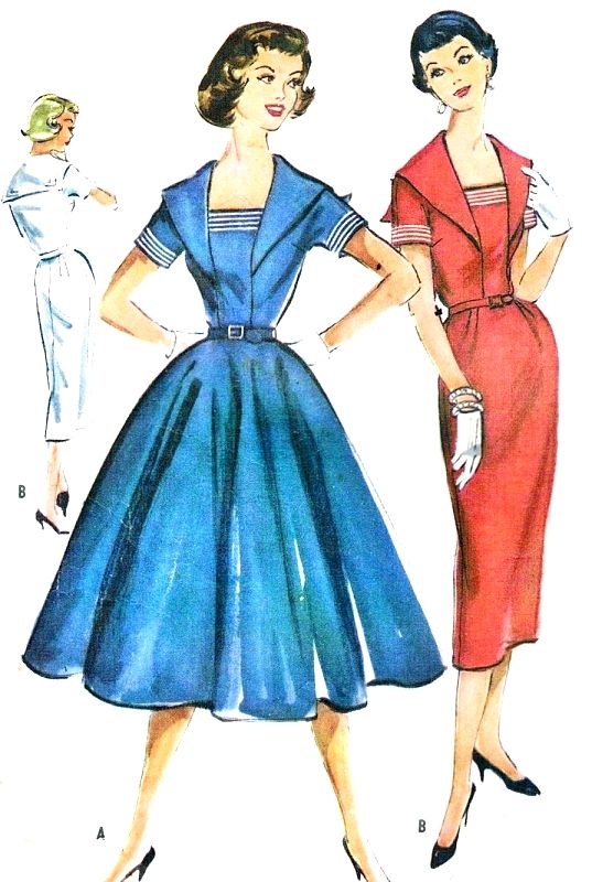 1950s Slim or Full Skirt Sailor Style Dress Pattern McCalls 4395 ...