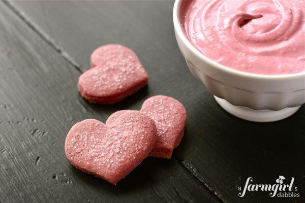 Raspberry Shortbread Hearts & Raspberry Cream Cheese Marshmallow Dip - from a farmgirl's dabbles