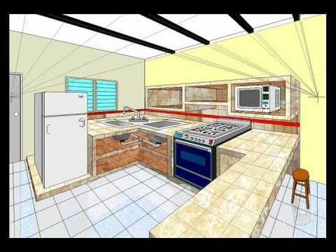 dibujo en perspectiva 2pf cocina