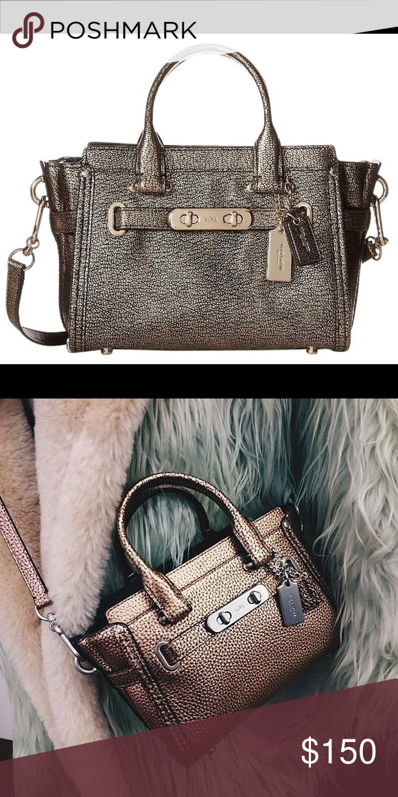 a6446f014706b ✨COACH SWAGGER 20✨ *more pics are coming Coach swagger in metallic gold.  Perfect for crossbody bag. Super cute and spacious. Please feel free to ask  any ...