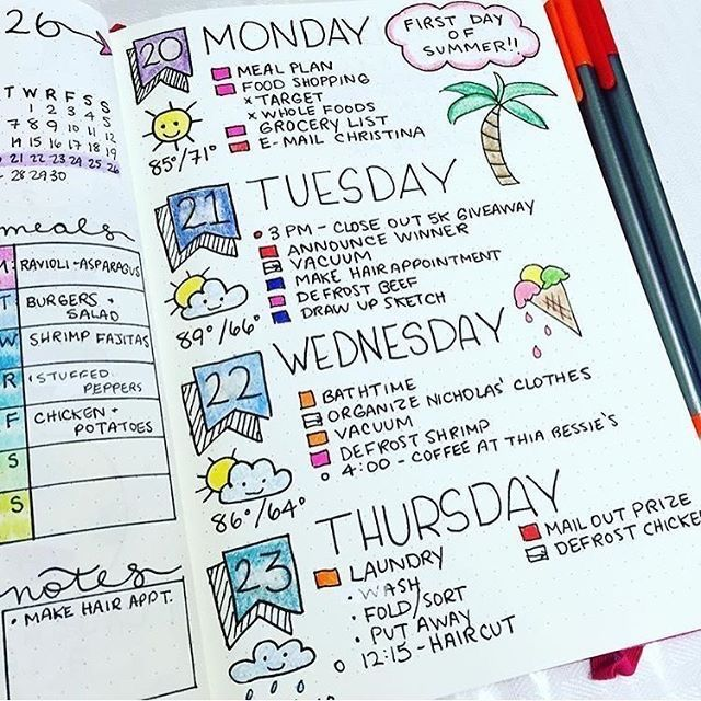 Bullet journal inspiration, daily pages, includes weather