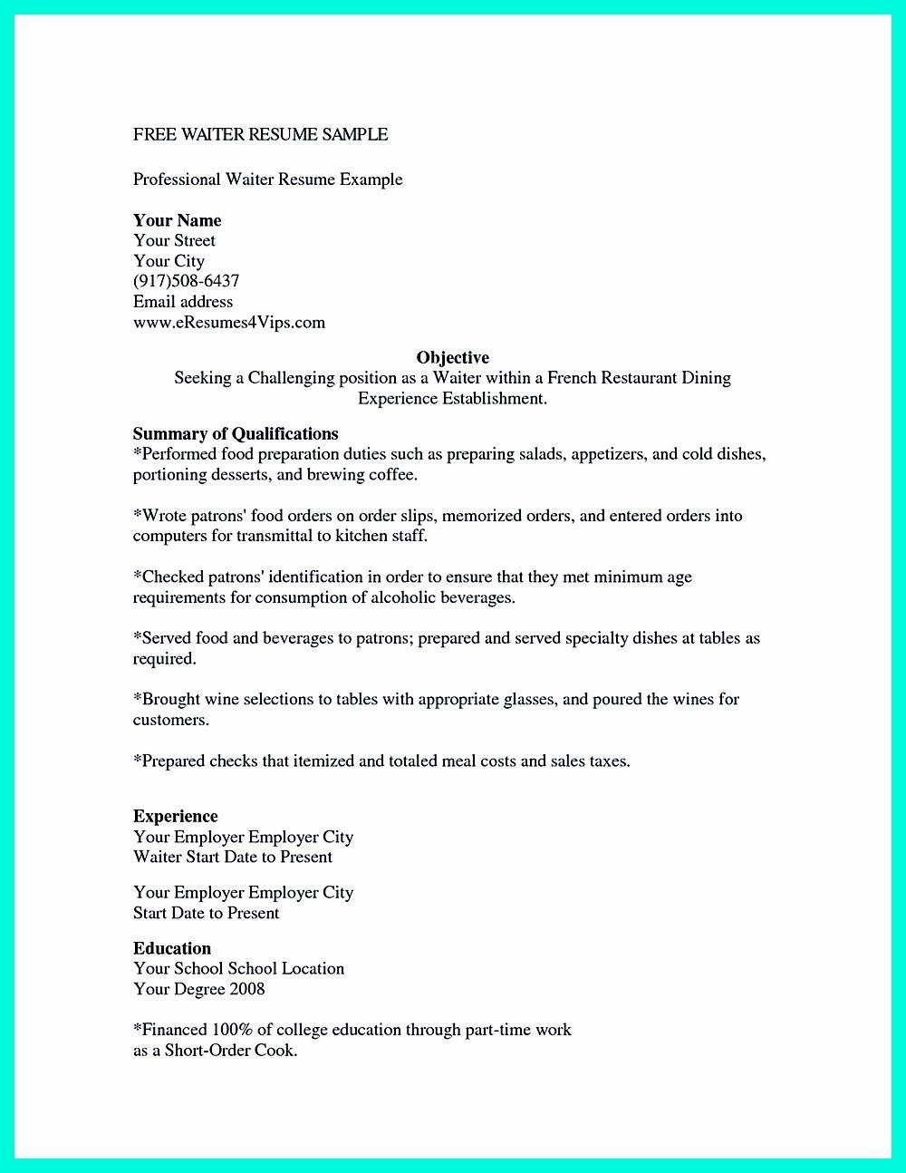 Cocktail Server Resume Skills to Convince Restaurants or Café