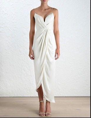 details about zimmermann sueded silk plunge long dress
