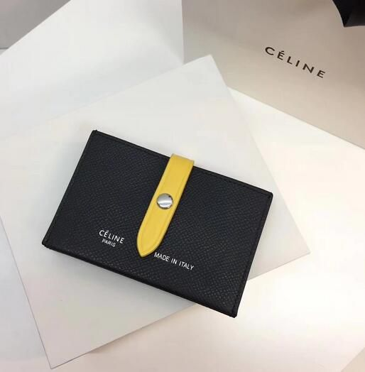 c648dff57d  Celine wallet 2017 Celine Strap medium multifunction in BLACK YELLOW  grained and shiny calfskin