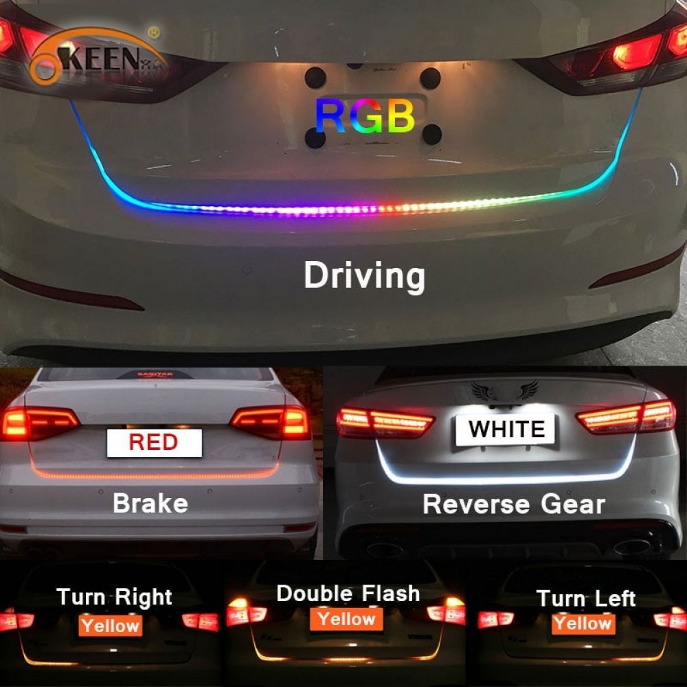 Rgb Led Colorful Dynamic Turn Tail Light Blinker Strip For Car Trunk 47 6 Inch Sadoun Sales International In 2020 Turn Ons Car Reverse Gear
