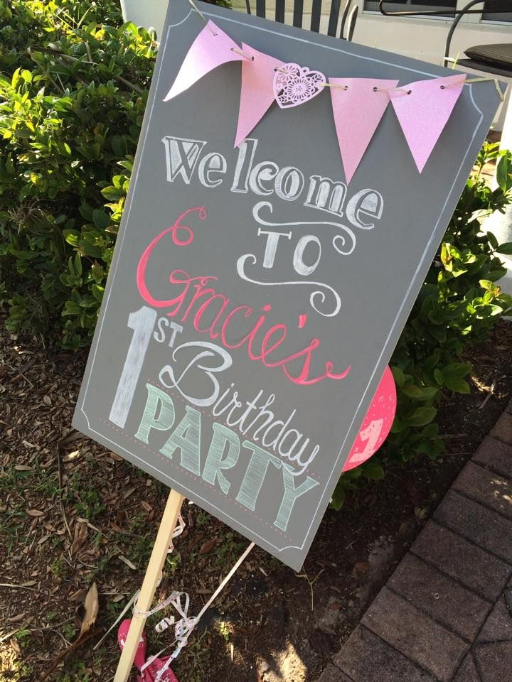 Baby S First Birthday Welcome Sign For Gracie S Party In