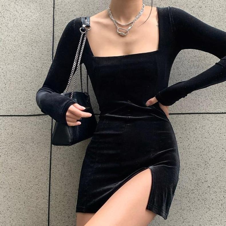 DARK ACADEMIA STYLE SEXY VELVET MINI DRESS - Black