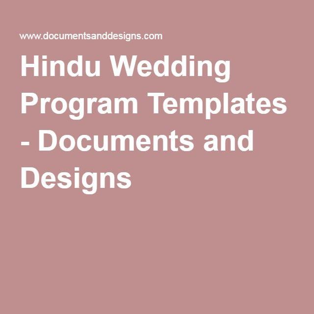 Hindu Wedding Program Templates Documents And Designs Ceremony