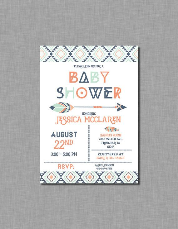 instant download navy orange teal tribal baby by janepaperie, Baby shower invitations