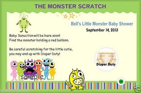 Baby Shower Favors 30 Personalized LITTLE MONSTER by SimpleFavor
