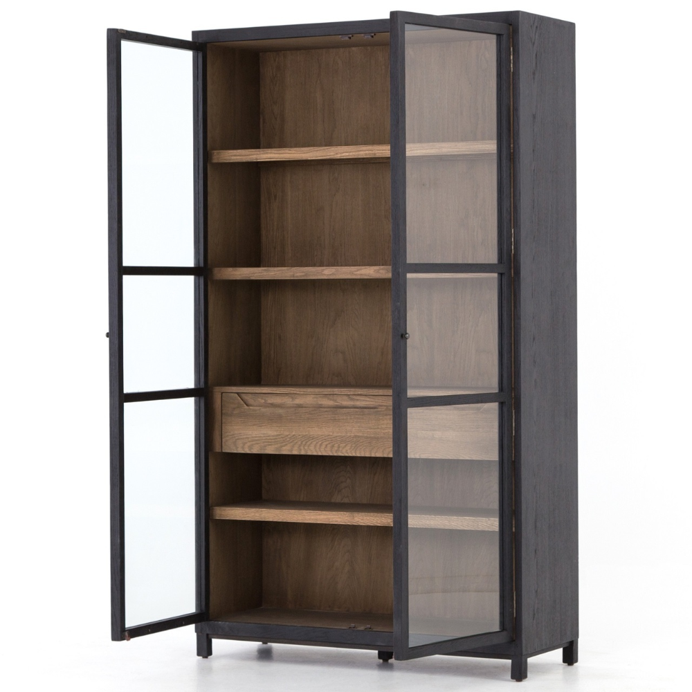 Oak Wood Gl Door Display Cabinet