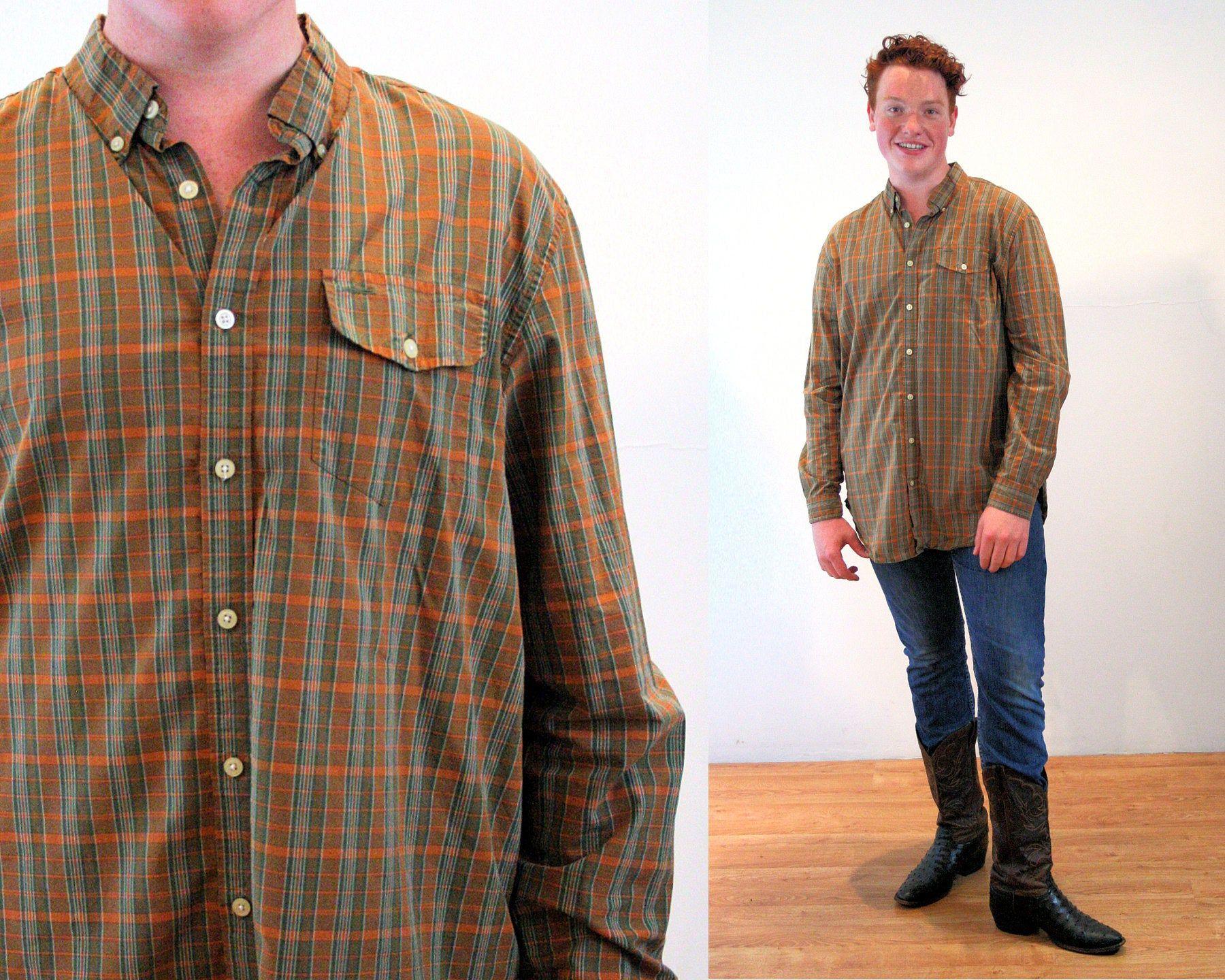 Smeiling Mens Retro Long Sleeve Lapel Plaid Button Down Dress Shirts