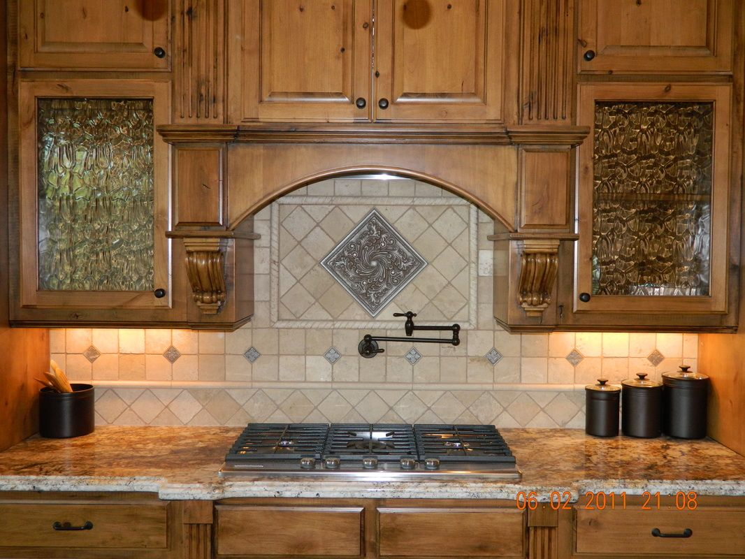 Dining Kitchen Attractive Travertine Backsplash And Pot Filler