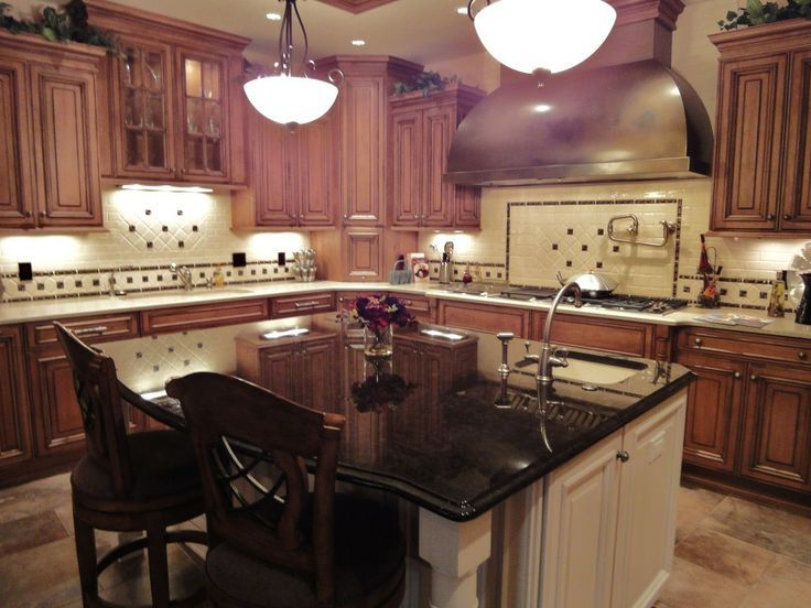 Cherry Shaker Kitchen Cabinets Black Counter White Island Google Search Wood Kitchen Cherry Wood Kitchens White Tile Kitchen Backsplash
