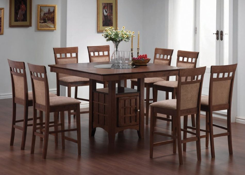 Coaster 5 Piece Counter Height Dining Set In Walnut Finish  For Delectable High Dining Room Table Design Inspiration