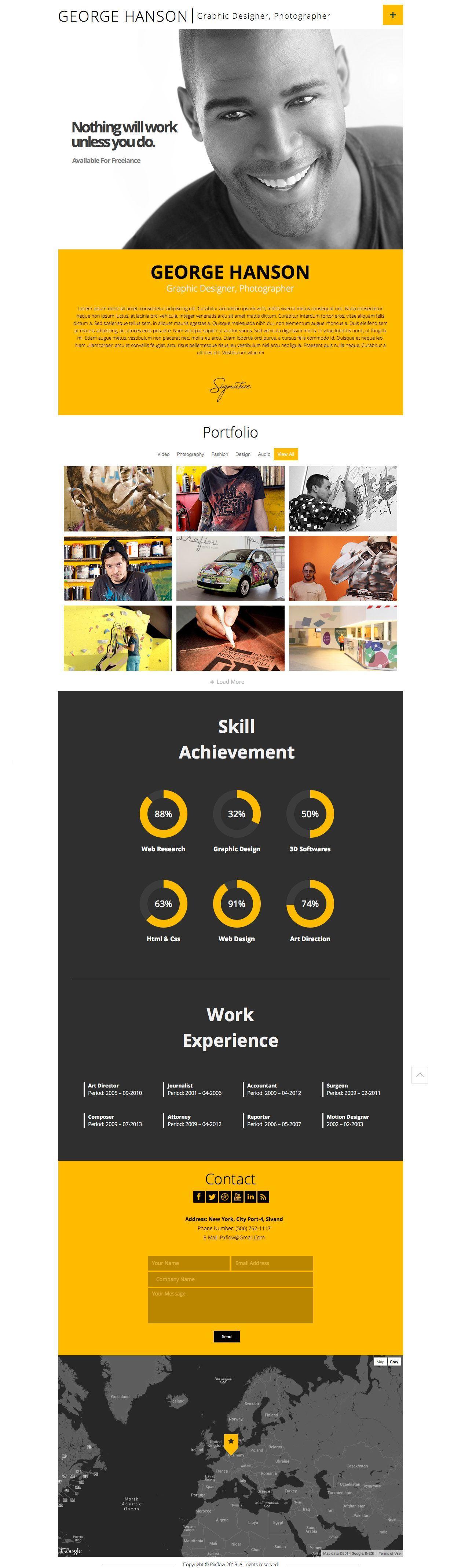 Online Resume Website Profession One Page Resume WordPress Theme  WordPress Graphic .
