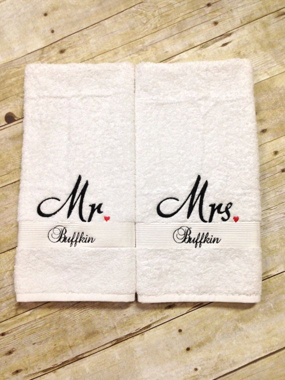 Mr mrs hand towels with last name mr and mrs towels for Embroidered towels for wedding gift
