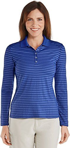 Coolibar UPF 50 Womens Golf Polo  Sun Protective 2X  Cobalt Stripe ** For more information, visit image link.