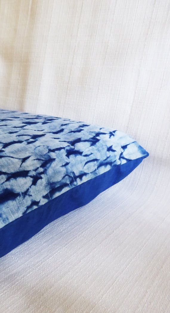 Cushion cover shibori natural indigo mokume eco-dye by TextileBlue