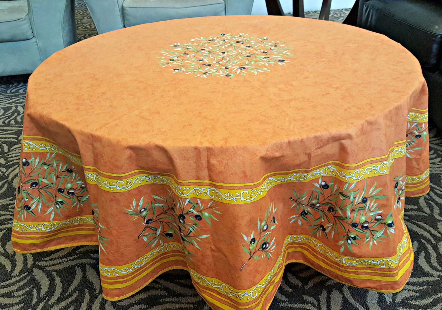 Tablecloth La Cigale Provence France French Country Olives Acrylic Coated Cotton Vintage 68 Round So Table Cloth Outdoor Ottoman Acrylic Coated