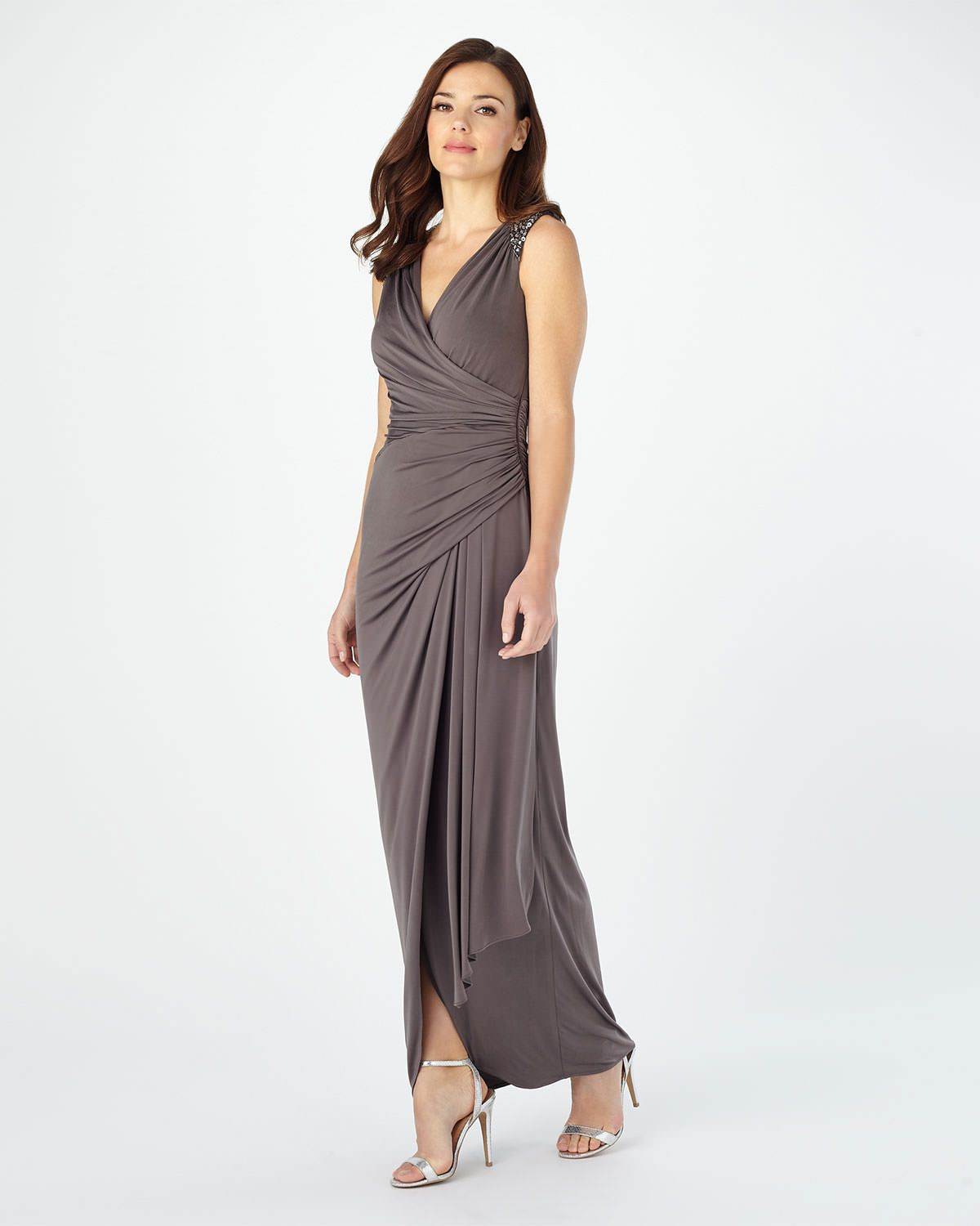 130 Up To Size 20 Phase Eight Anoushka Full Length Dress Grey