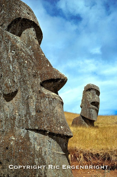 Pensive are the expressions on the moai at Rano Raraku on Easter Island, a World Heritage Site.