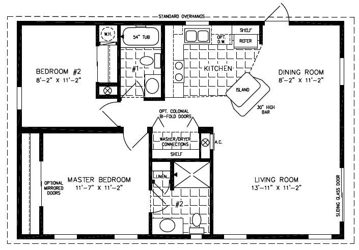 Mobile home blueprints 3 bedrooms single wide 71 of for One level modular homes