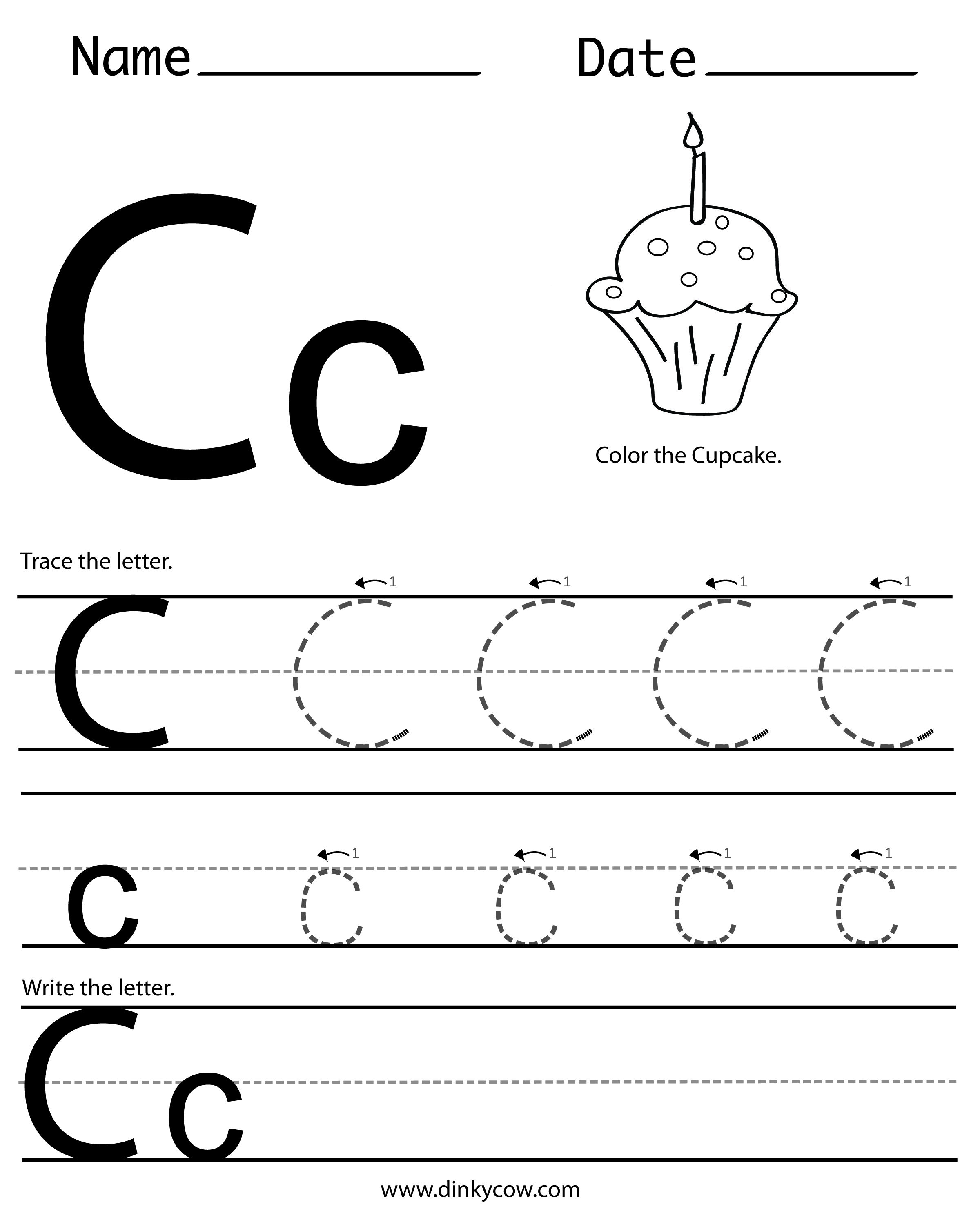 C Free Handwriting Worksheet Print 2400x2988