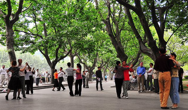 Fuxing Park, Shanghai.  Loved going there and watching the local chinese people dancing, singing, flying kites, playing chess, doing tai chi, chatting, eating, fishing, arguing, laughing - just generally enjoying the outdoor space in a way only they could!
