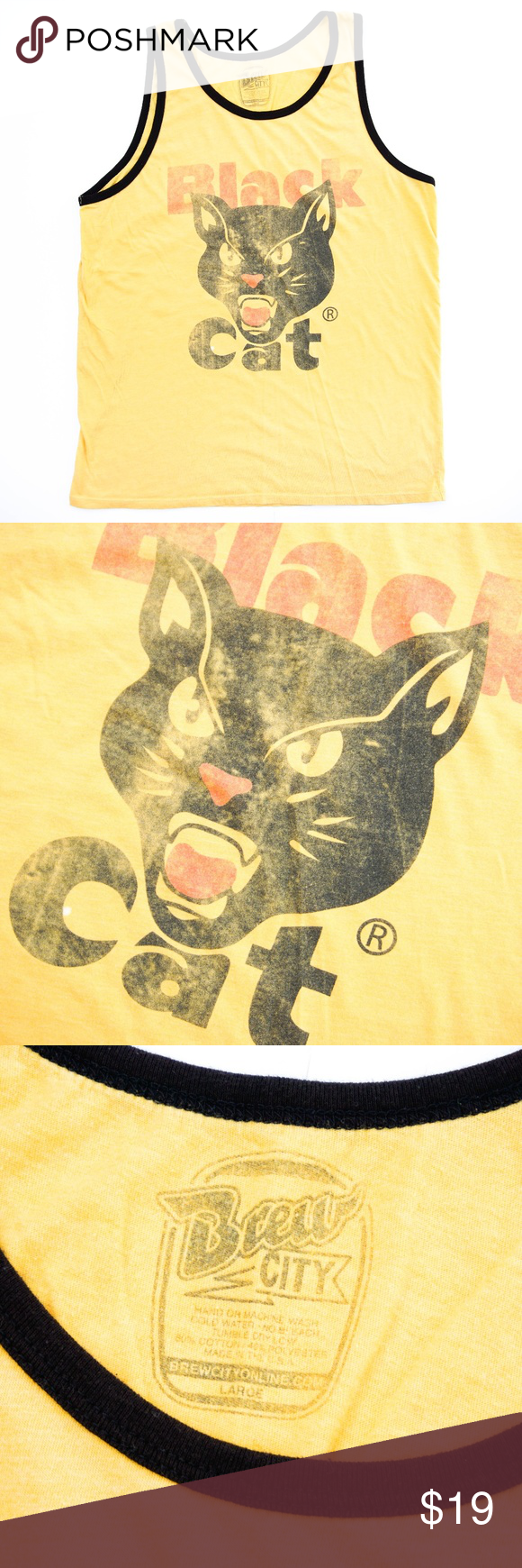 Rare Black Cat Fireworks Retro Style Tank Top L Retro