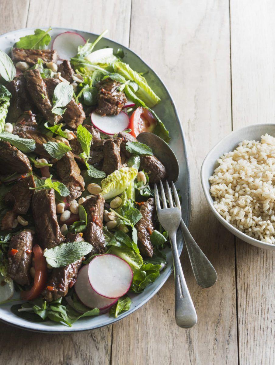 Shaking Beef Salad With Brown Rice Recipe Beef Salad Beef Salad