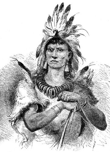 Chief Powhatan, famous Powhatan, whose daughter was Pocohontas.  During his reign, colonists and natives mostly got along.