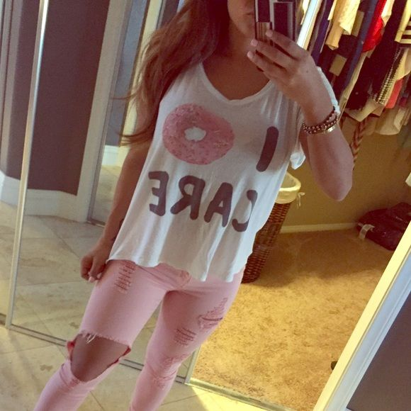 I 🍩 care shirt Cute t shirt !!  Flowy off white color Fashion Nova Tops Tees - Short Sleeve