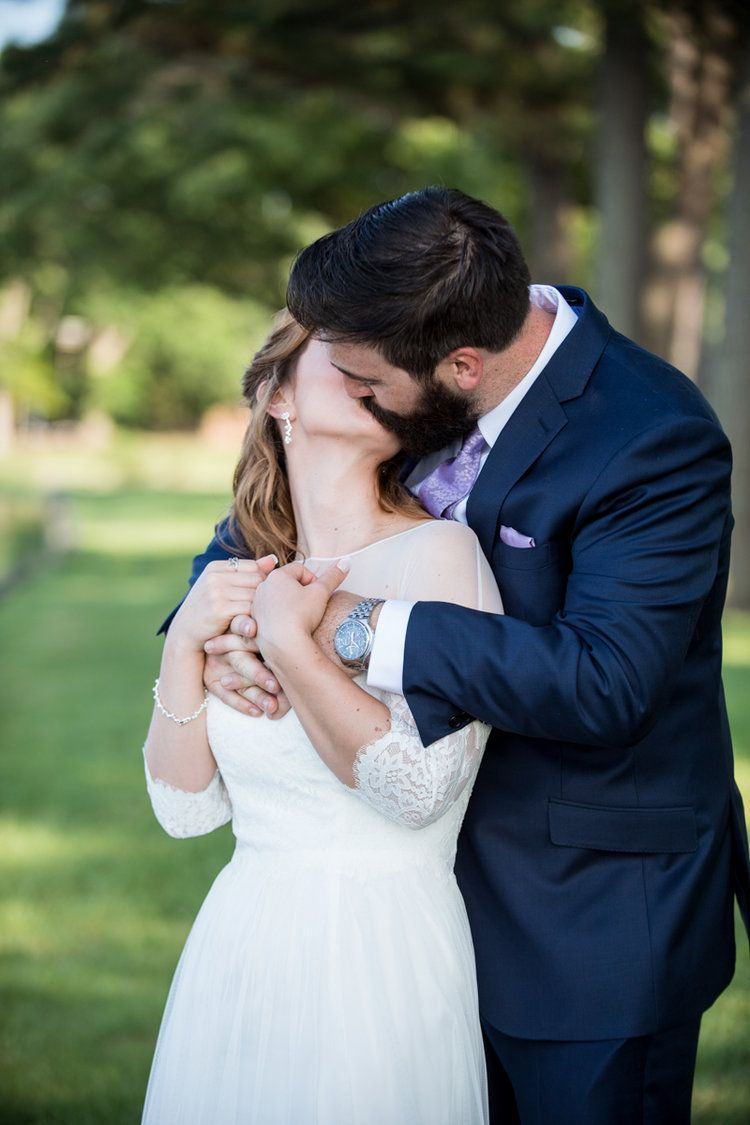 Intimate Backyard Summer Wedding On The Water Bride And Groom Portraits