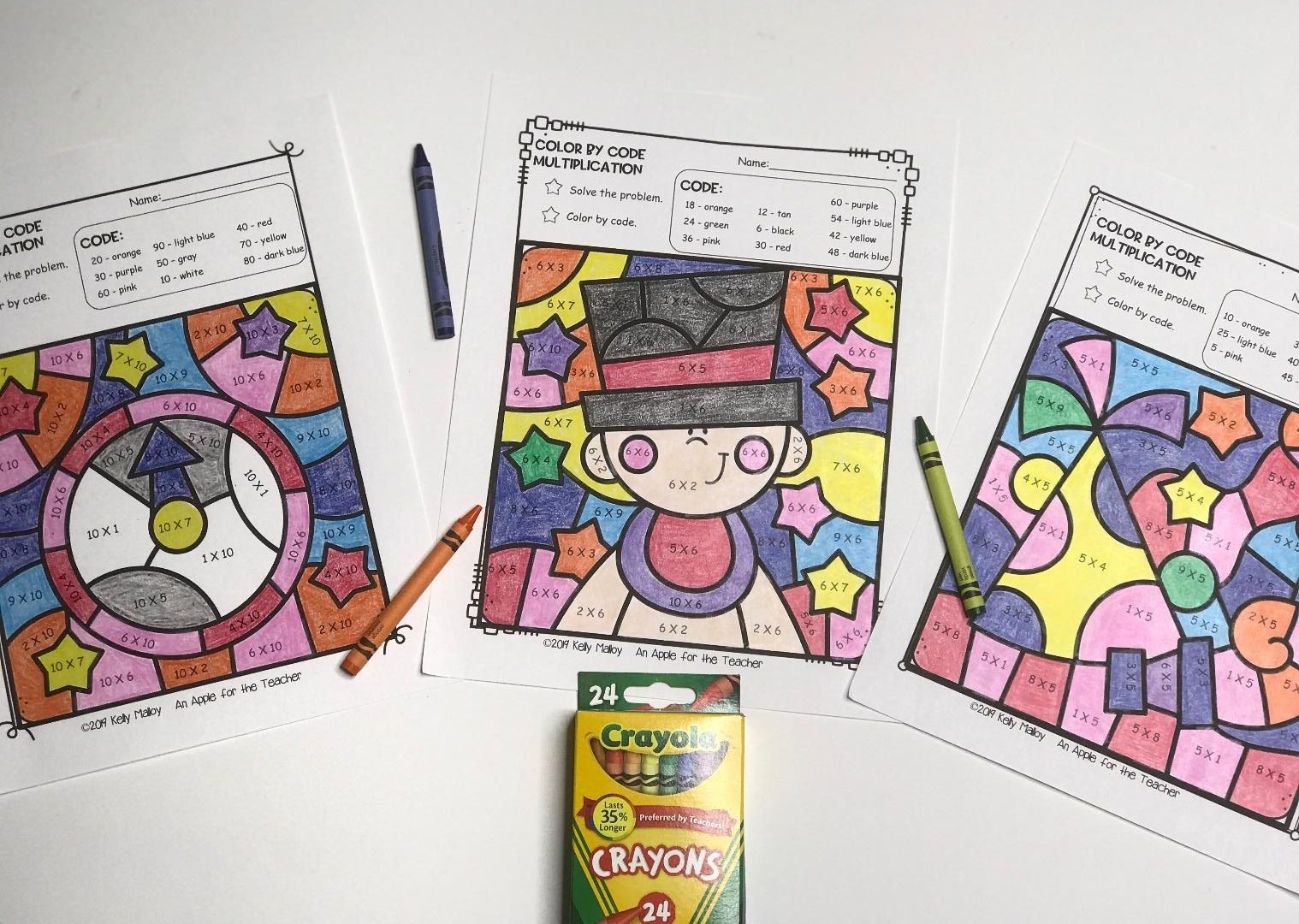 New Years Color By Number Multiplication Facts