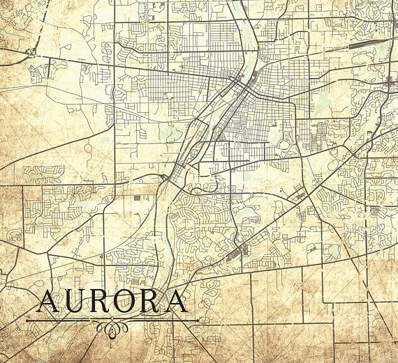 Aurora Il Canvas Print Illinois Il Vintage Map Vintage Wall