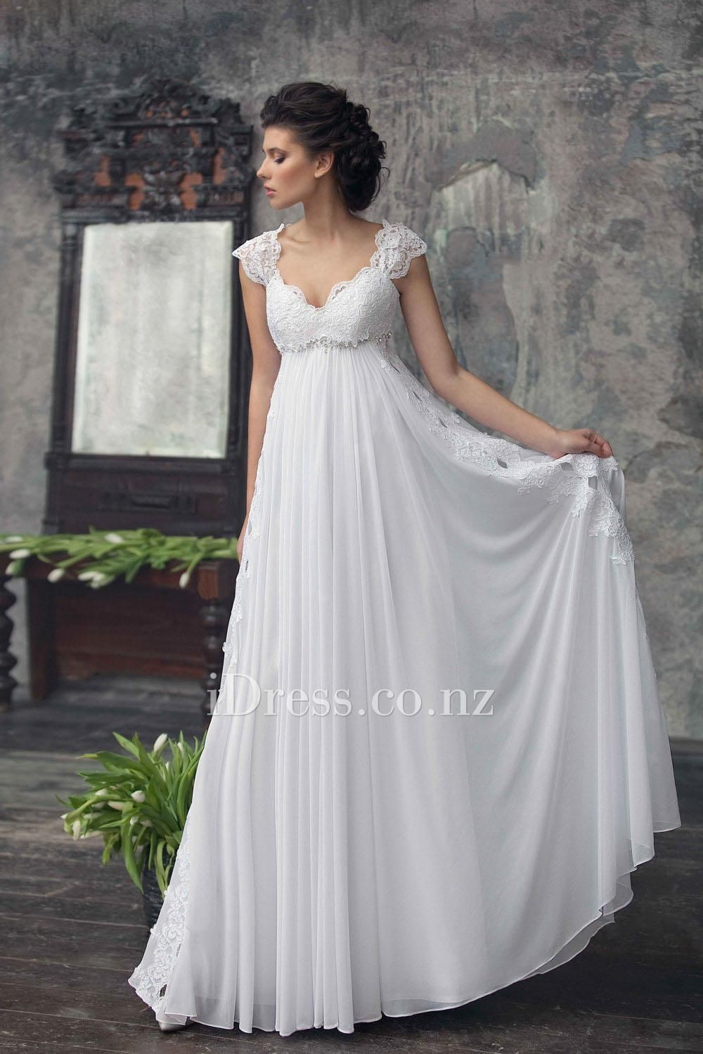 Empire cap sleeve white lace and chiffon keyhole aline long summer