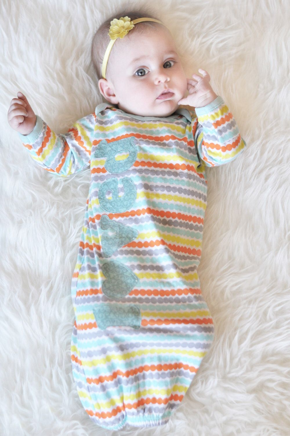 Newborn Girl Coming Home Outfit, Infant Gown, Infant Sleeper Gown ...