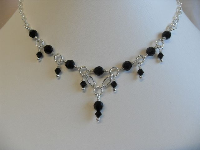 Twisted Black Crystal Necklace £21.50