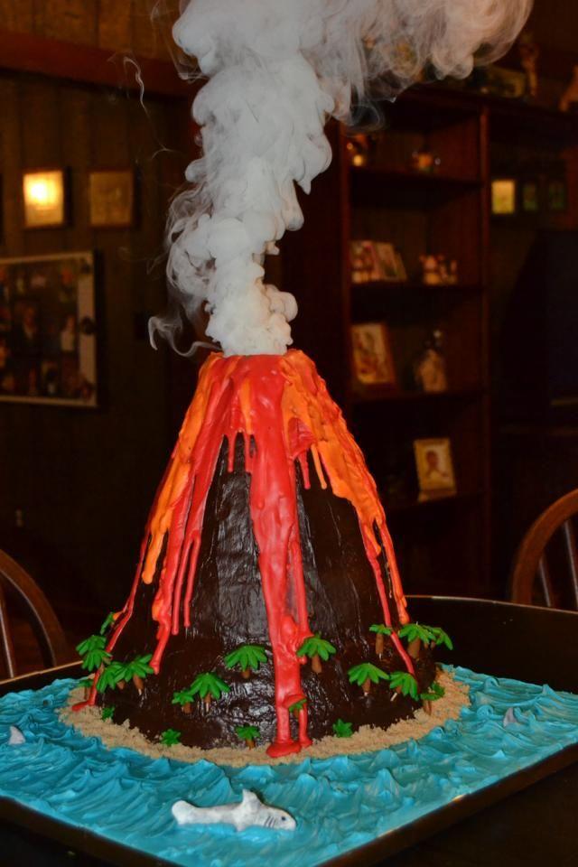 Peachy Volcano Cake Volcano Cake Birthday Cake Kids Science Party Personalised Birthday Cards Veneteletsinfo