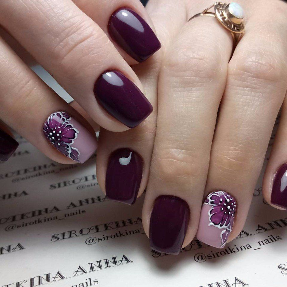 Pinterest Dark Purple Nails Ring Finger Nails