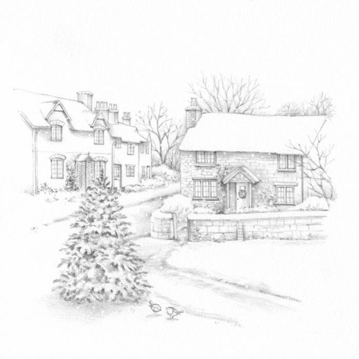 Lisa Alderson - La-pencil-snowscene   Christmas sketch, Christmas ...