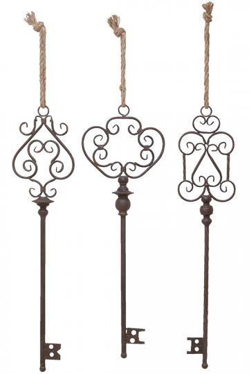 Brielle Metal Wall Keys - Set of 3 - Decorative Keys - Old ...