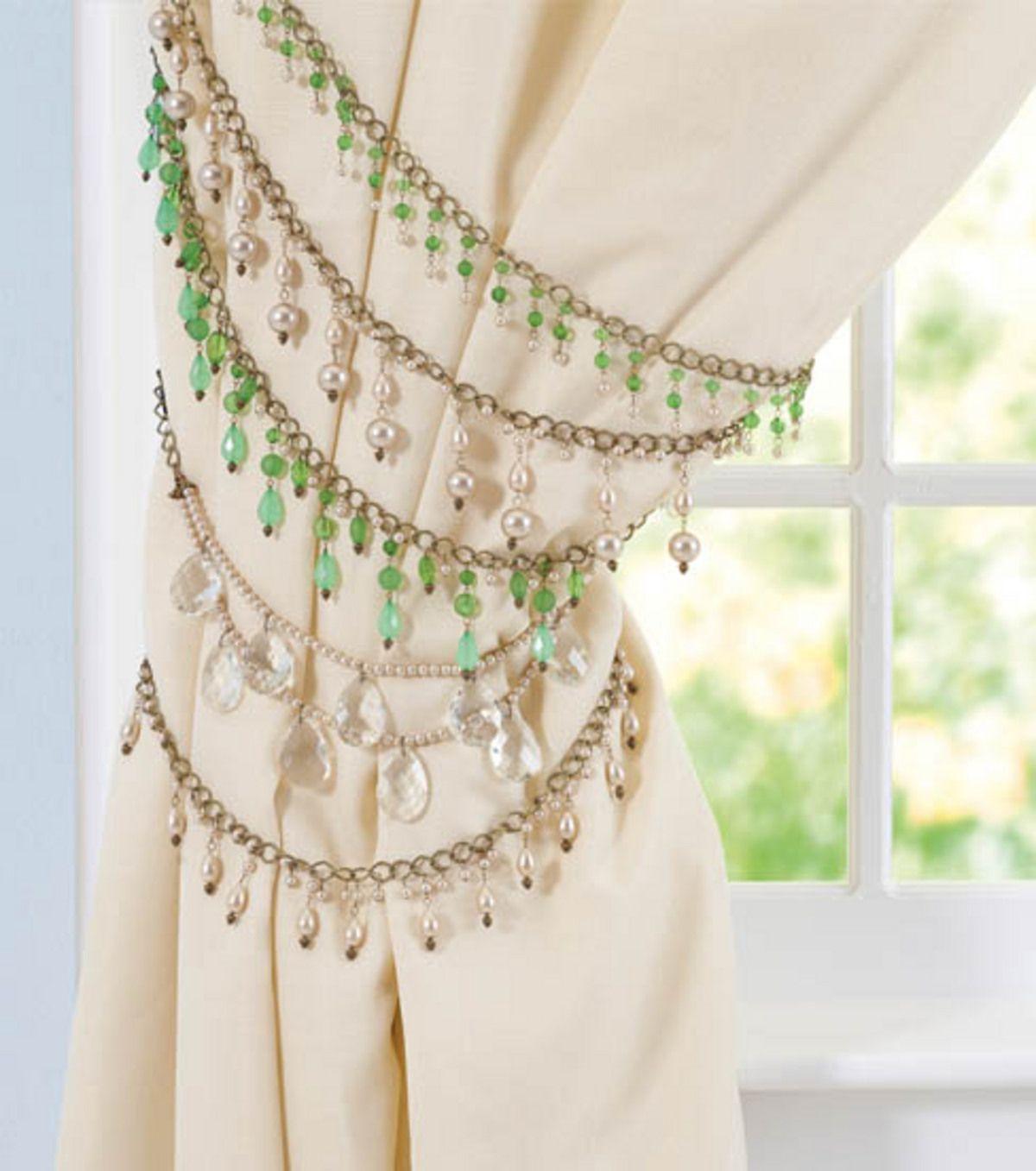Diy Jeweled Curtain Tiebacks Bronze Chain W Blue Teal Black